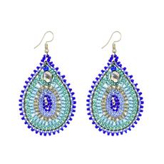 Unique Batik Harem Blue Beaded Earrings