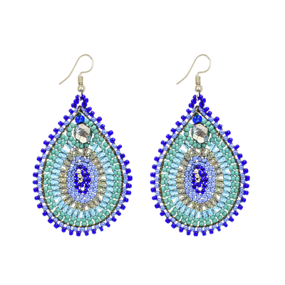 Unique Batik Harem Blue Beaded Earrings