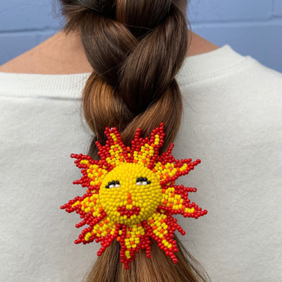Unique Batik Beaded Sun Hair Holder