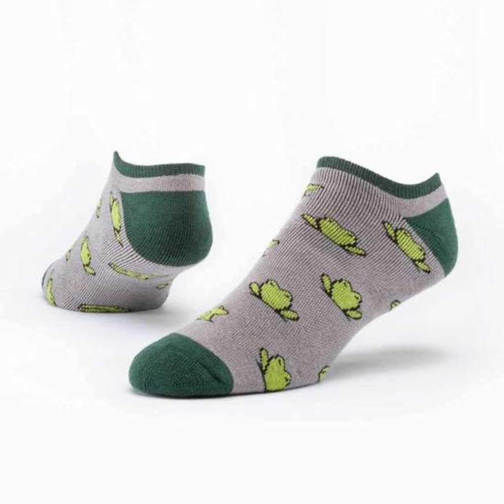 Maggie's Organics Taupe Frogs Footie Socks