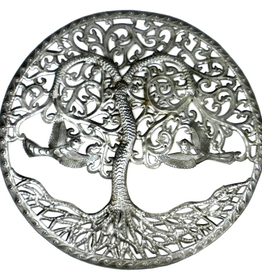 Global Crafts Curly Tree of Life Ringed Metal Wall Art