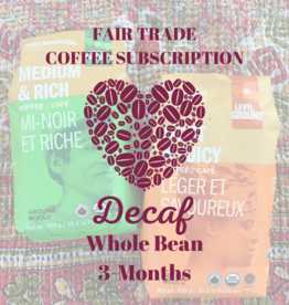 Global Gifts Coffee Subscription: 3 Months Whole Bean Decaf