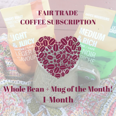 Global Gifts Coffee Subscription: 1 Month Whole Bean + Mug