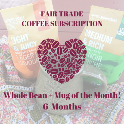 Global Gifts Coffee Subscription: 6 Months Whole Bean + Mug