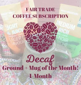 Global Gifts Coffee Subscription: 1 Month Ground Decaf + Mug