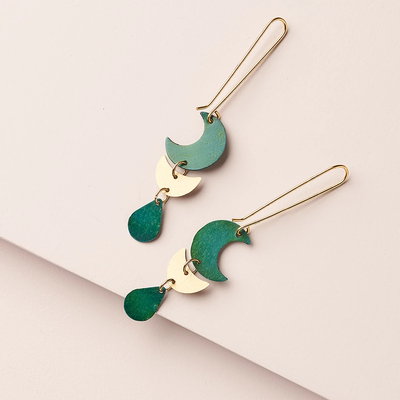 Matr Boomie Rajani Teal Drop Earrings