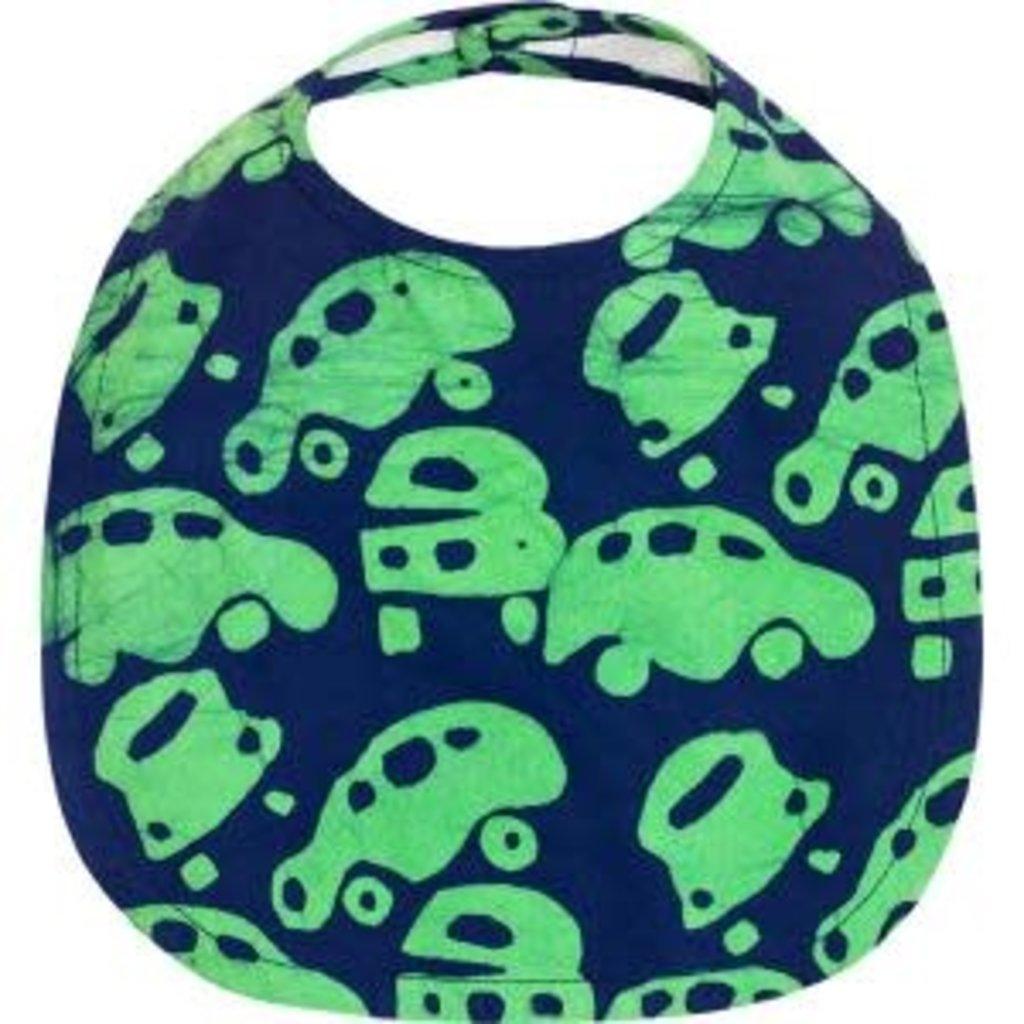 Global Mamas Organic Cotton Baby Bib: Lime Cars