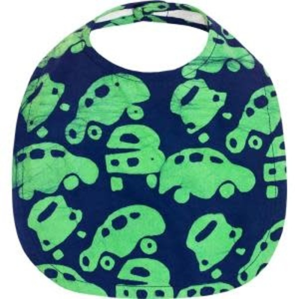 Global Mamas Organic Cotton Batik Baby Bib Cars