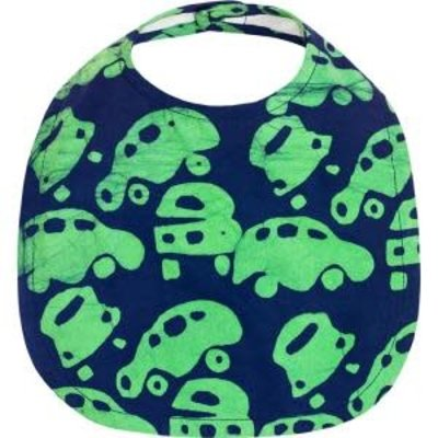 Global Mamas Organic Cotton Baby Bib: Lime Cars