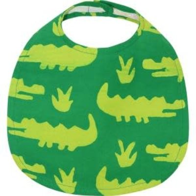 Global Mamas Organic Cotton Baby Bib: Lime Crocks
