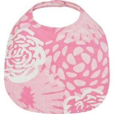 Global Mamas Organic Cotton Batik Baby Bib Garden Pink