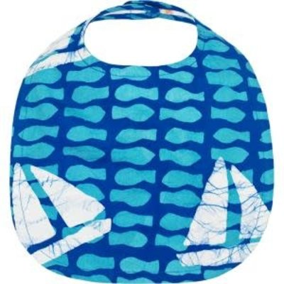 Global Mamas Organic Cotton Batik Baby Bib Sailing Blue