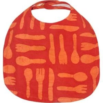 Global Mamas Organic Cotton Batik Baby Bib Silverware