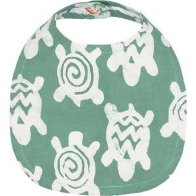 Global Mamas Organic Cotton Baby Bib: Sage Turtles