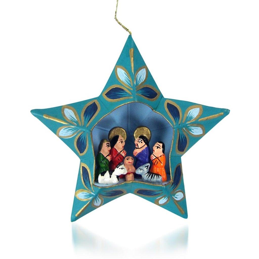 Serrv Teal Star Retablo Nativity Ornament