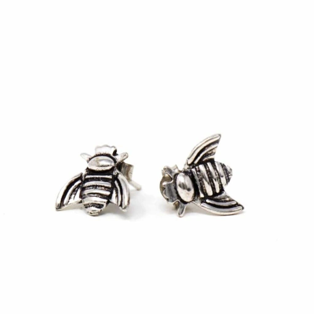 Global Crafts Honeybee Silver-plated Stud Earrings