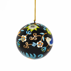 Global Crafts Birds & Flowers Black Ball Ornament
