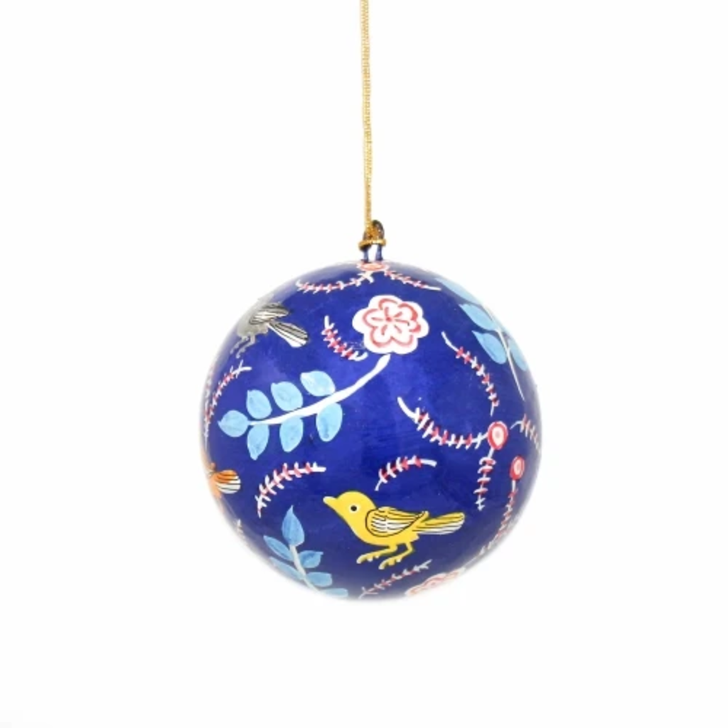 Global Crafts Birds & Flowers Blue Ball Ornament