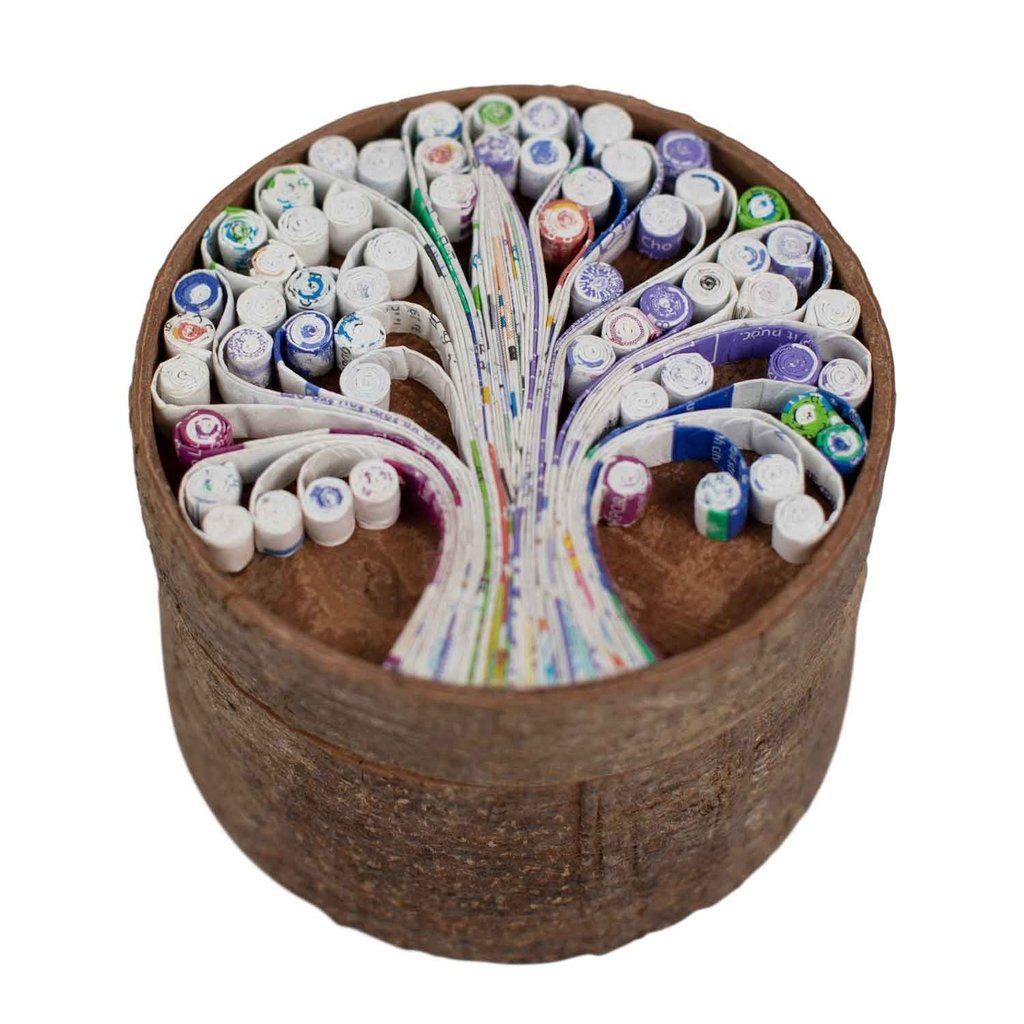 Ten Thousand Villages Cinnamon Bark & Paper Tree Box