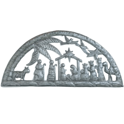 Global Crafts Half Circle Nativity Metal Drum Art