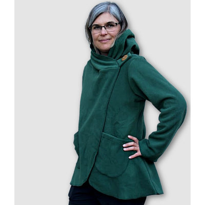 Ganesh Himal Fleece Jacket with Hood: Forest