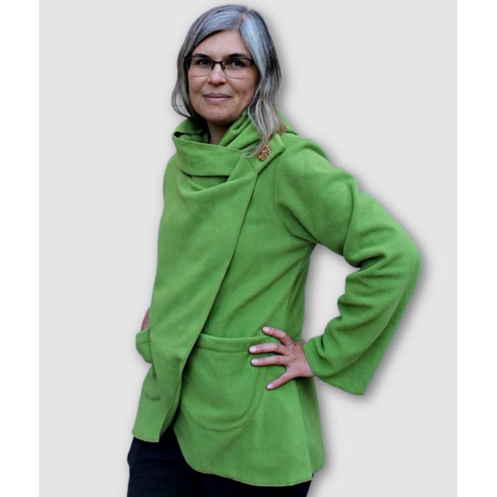 Ganesh Himal Fleece Jacket with Hood: Lime