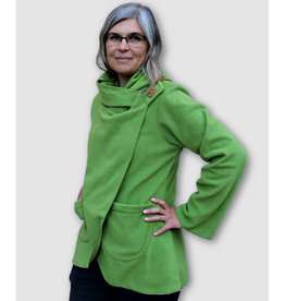 Ganesh Himal Fleece Jacket with Hood: Lime