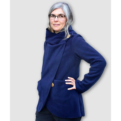 Ganesh Himal Fleece Jacket with Hood: Navy