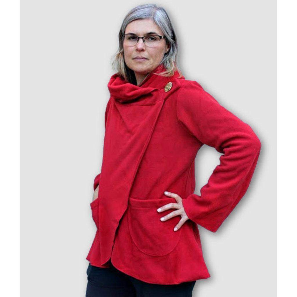 Ganesh Himal Fleece Jacket with Hood: Red