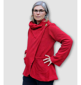 Ganesh Himal Fleece Jacket with Hood: Red