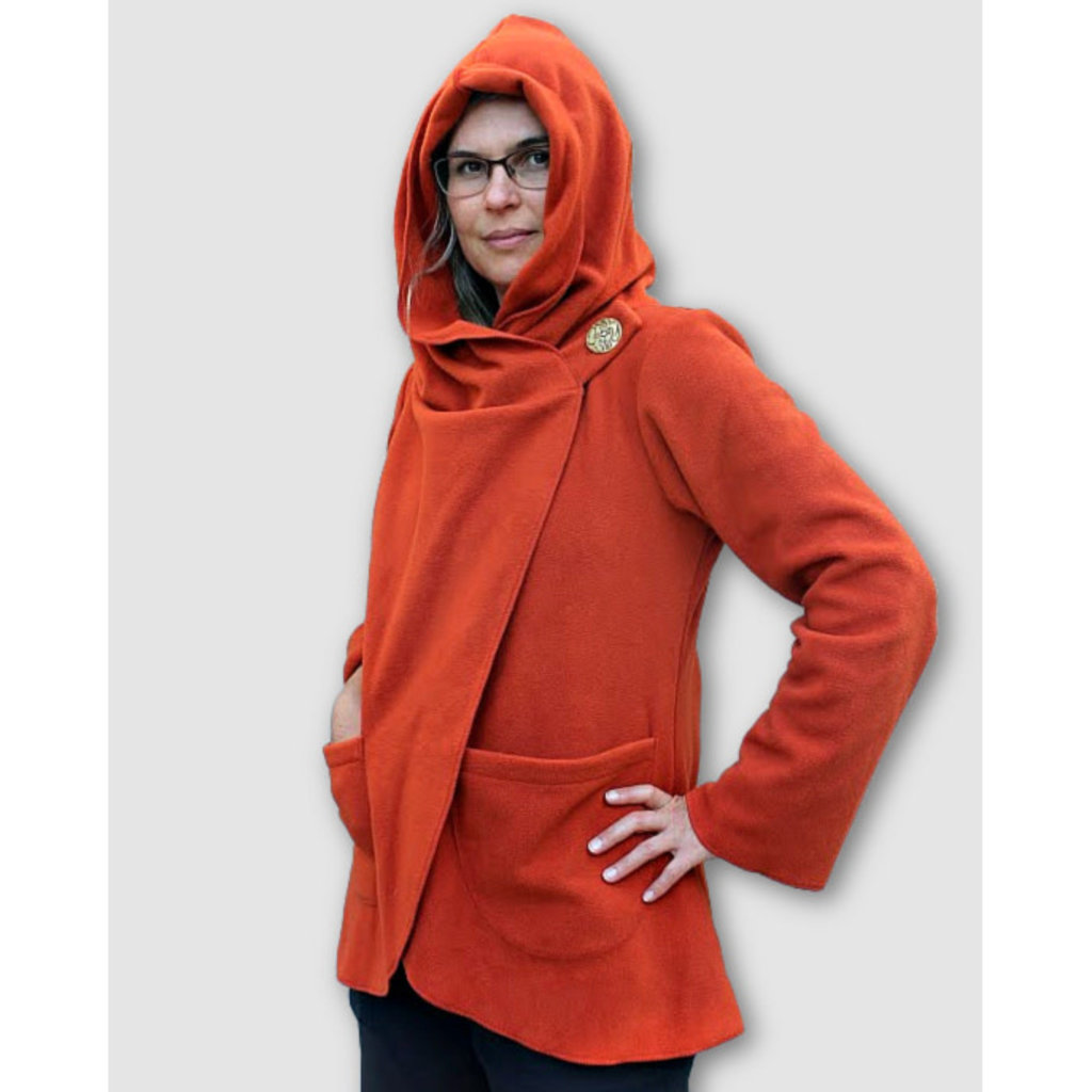 Ganesh Himal Fleece Jacket with Hood: Rust