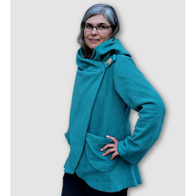 Ganesh Himal Fleece Jacket with Hood: Teal