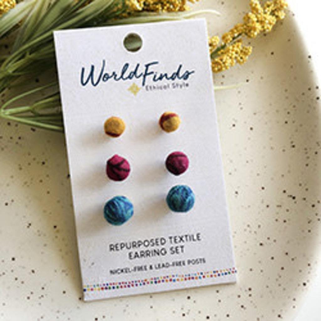 World Finds Kantha Bauble Post Earring Set