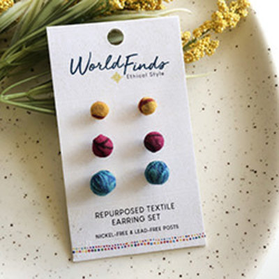 World Finds Kantha Bauble Post Earring Set