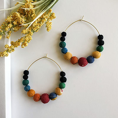 World Finds Galaxy Graduated Kantha Earrings