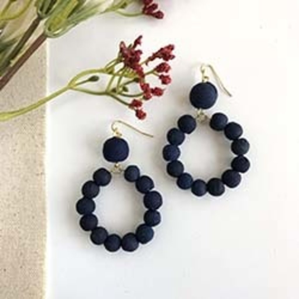 World Finds Indigo Kantha Dangling Hoop Earrings