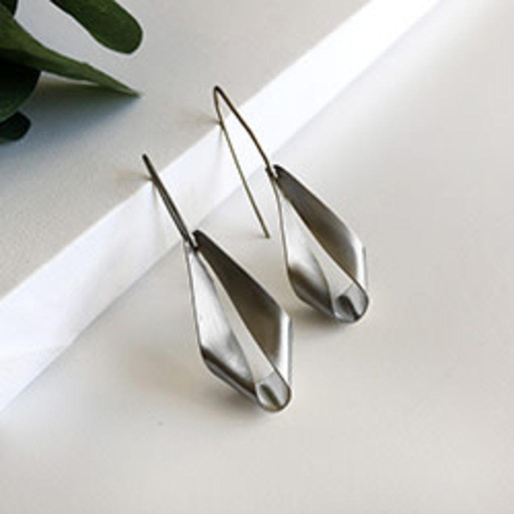 World Finds Folded Lantern Silver Earrings