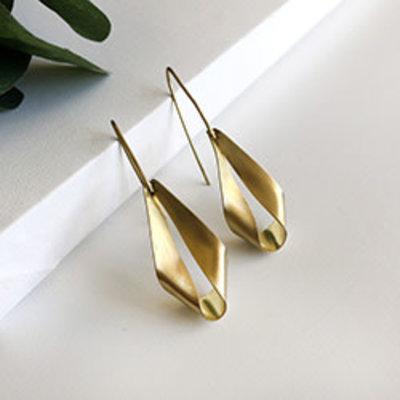 World Finds Folded Lantern Gold Earrings