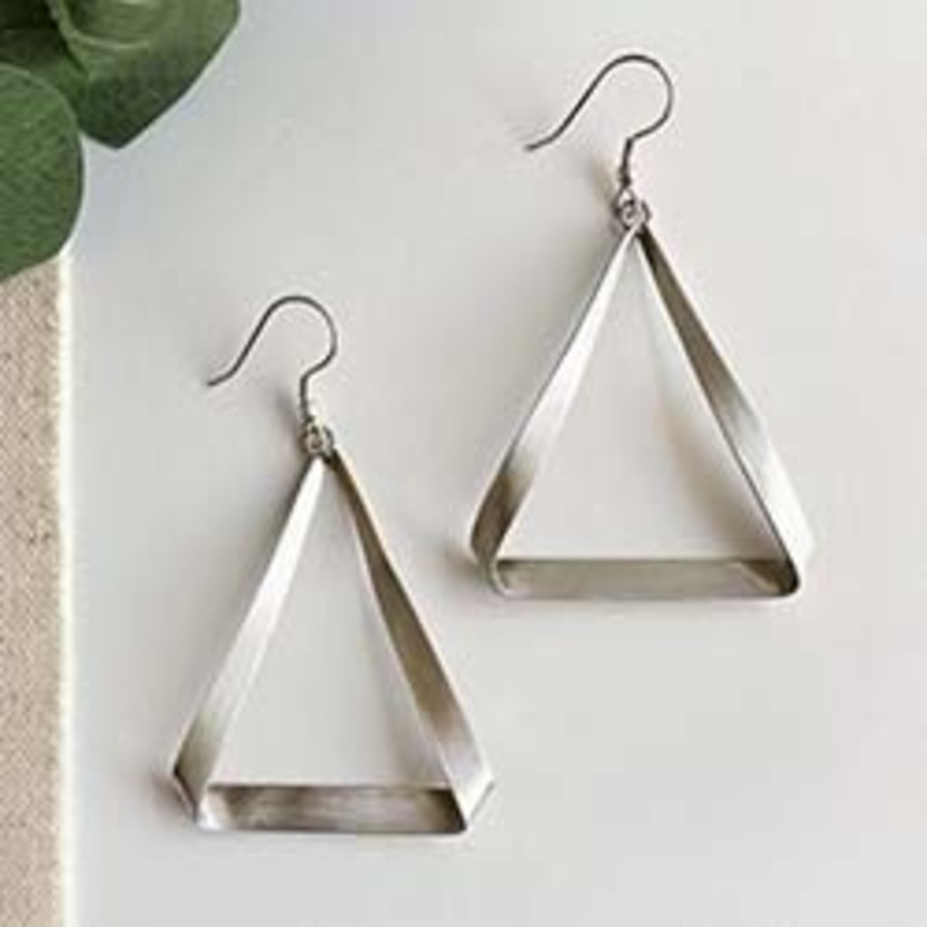 World Finds Folded Triangle Silver Earrings