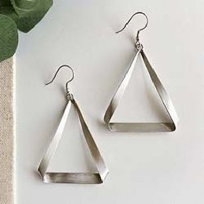 World Finds Folded Triangle Silver Earrings