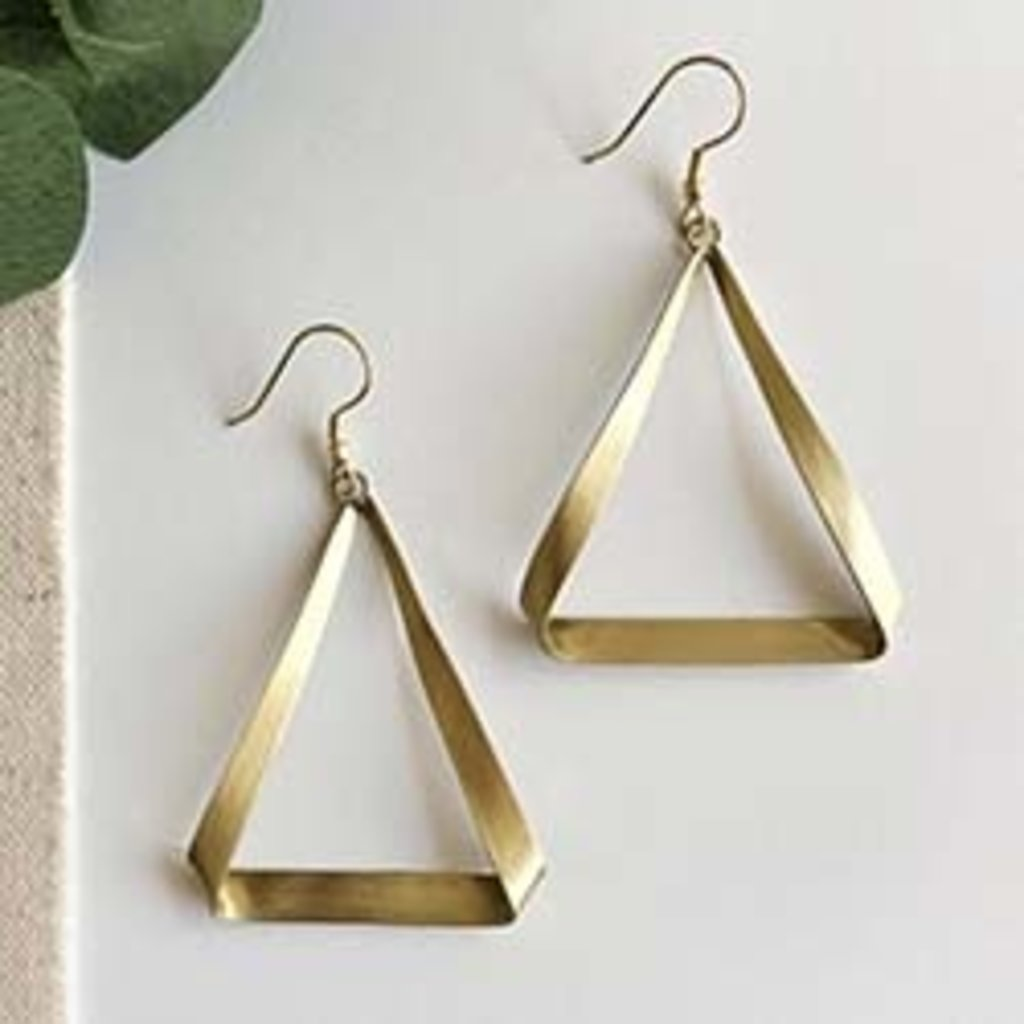 World Finds Folded Triangle Gold Earrings