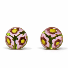Global Crafts Round Glass Pink Flower Stud Earrings