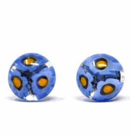 Global Crafts Round Glass Blue Flower Stud Earrings