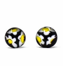 Global Crafts Round Glass Black Flower Stud Earrings