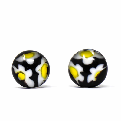 Global Crafts Round Glass Black Flower Stud Earrings