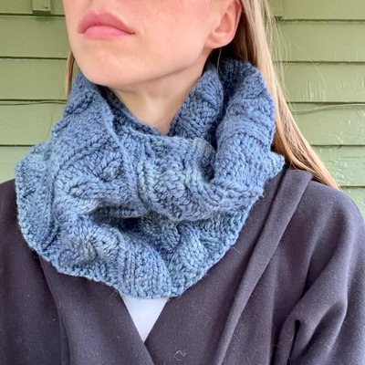 Creation Hive Anne Kenyan Merino Wool Knit Infinity Scarf Blue