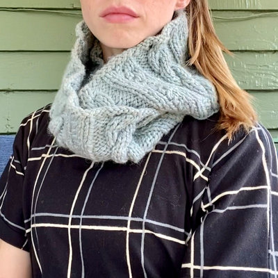 Creation Hive Anne Kenyan Merino Wool Knit Infinity Scarf Gray