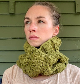 Creation Hive Anne Kenyan Merino Wool Knit Infinity Scarf Olive