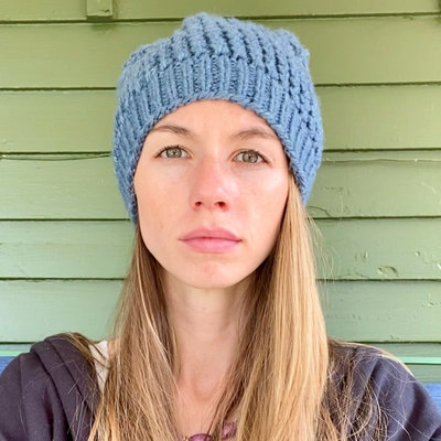Creation Hive Jane Kenyan Merino Knit Wool Hat Blue