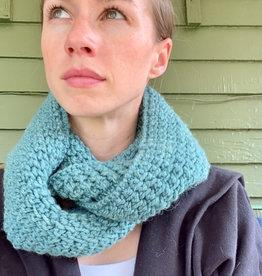 Creation Hive Jane Kenyan Merino Wool Knit Infinity Scarf Green